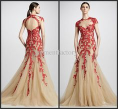2013 Elie Saab High Neck Short Sleeve Red Lace Applique Nude Tulle Open Bakck Long Evening Dresses Gowns