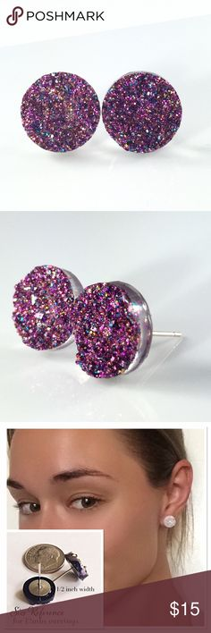 3 for 15magenta glitter faux Druzy studs New! Handmade by me 1/2 inch, 12mm acrylic faux druzy bead on silver tone posts. Silver backings. Lead & nickel free. PRICE FIRM if purchasing 1 pair($8). No trades.  ➡️TO GET 3 FOR 15 deal⬅️ ✅Click Add to Bundle under any 3 items (marked 3 for 15) ✅Make offer for $15 ✅I'll accept your offer ✅ Additional items $5 each so 4 pairs=$20, 5 pairs=$25, etc. If you need help, let me know  thejeweladdict Jewelry Earrings