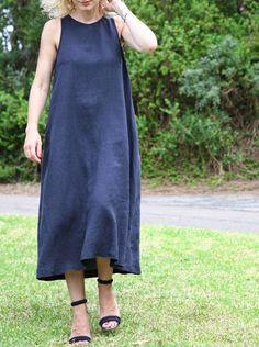 Tessuti Fabrics - Ruby Dress Pattern (lengthened) in linen/viscose check