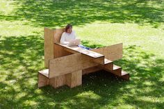 the stair-like stepped furniture piece by sebastian marbacher encourages social interaction by providing diverse ways of sitting.