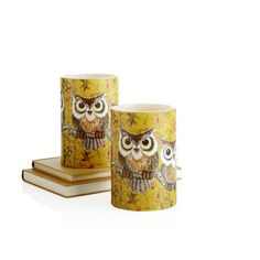 Pier 1 Golden Apple Orchard LED Owl Candle