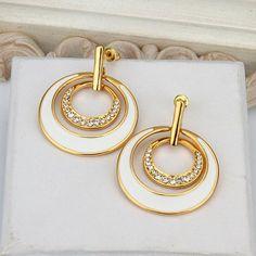 @ BreshnaJewel.com - White Loop 18K Gold Plated Earrings