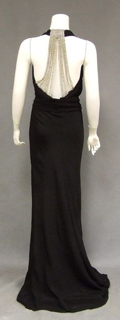 Black Crepe 1930s Evening Gown w/Dripping Rhinestone Back
