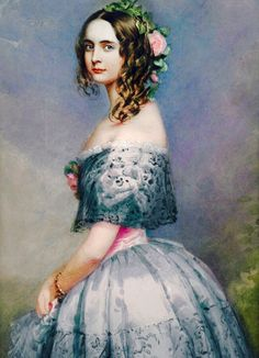 """Alexandra was born in Schloss Johannisburg in Aschaffenburg, the eighth child and fifth daughter of King Ludwig I of Bavaria and of his wife Princess Therese of Saxe-Hildburghausen. As a girl her portrait was painted by Joseph Karl Stieler for the """"Gallery of Beauties"""" which her father commissioned at Schloss Nymphenburg."""