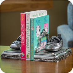 Bronzed Shoes Mounted on All-Metal Bookends