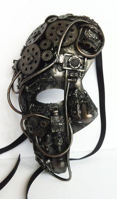 techno steampunk phantom mascarade mask by richardsymonsart