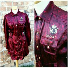 Coogi Satin Shirt Dress Burgundy  | Clothing, Shoes & Accessories, Women's Clothing, Dresses | eBay!