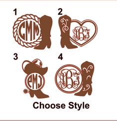 Cowboy Boot And Rope Monogram DecalCowgirl Boot Monogram Decal - Cowboy custom vinyl decals for trucks