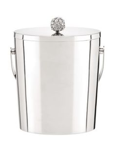 Bring glitter and glamor to your barware with the Two of a Kind Jeweled Ice Bucket from kate spade new york. Crafted in silver plate, the lid features a sparkling knob set with crystals and makes a great gift for a super chic hostess. Cocktail Accessories, Bar Accessories, Painted Bookshelves, Diy Home, Home Decor, Library Inspiration, Bar Cart Styling, Two Of A Kind, Stainless Steel Dishwasher