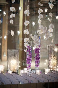 Hanging Orchid and Candle Escort Card Display | Riverbend Studio | www.thenkot.com