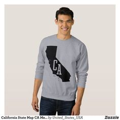 California State Map CA Men's Sweatshirt - Outdoor Activity Long-Sleeve Sweatshirts By Talented Fashion & Graphic Designers - #sweatshirts #hoodies #mensfashion #apparel #shopping #bargain #sale #outfit #stylish #cool #graphicdesign #trendy #fashion #design #fashiondesign #designer #fashiondesigner #style
