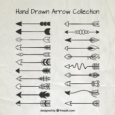 Collection of ornamental hand drawn arrow Free Vector