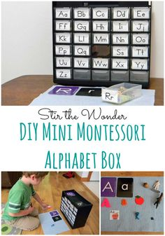 DIY Mini Montessori Alphabet Box Stir the Wonder Montessori Homeschool, Montessori Classroom, Preschool Literacy, Preschool Letters, Preschool At Home, Montessori Toddler, Learning Letters, Kids Learning, Homeschooling