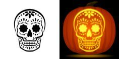 Sugar skull pumpkin carving stencil. Free PDF pattern to download and print at http://pumpkinstencils.org/download/sugar-skull-pumpkin-stencil/