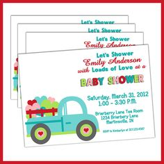 Baby Boy Baby Shower Invitations Loads of Love Vintage Toy Truck by LullabyLoo, $18.00