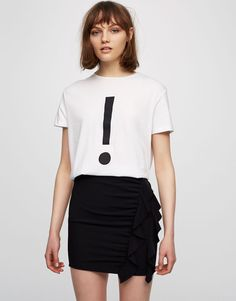 Pull&Bear - woman - clothing - t-shirts - exclamation point t-shirt - white - 09244358-V2017