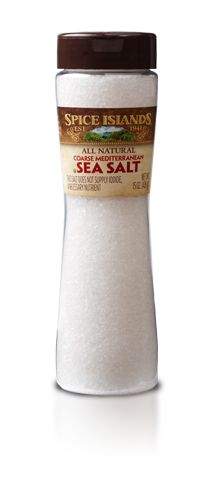 SEA SALT, COARSE GRIND, ALL-NATURAL  We collect our Spice Islands® Sea Salt from the low waters of the Mediterranean. Gathered in pans, we leave it in the warm sun and gentle breeze to evaporate. The result is a pure, all-natural salt that's flavorful without being overpowering.    The coarse grind adds a burst of flavor to your favorite dishes, from baked goods and salads to rubs. And the special easy-pour bottle design makes it easy to grip while pouring and measuring.