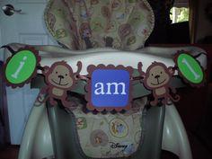 """MONKEY Birthday high chair banner """"i am 1""""  BOY birthday. first birthday. monkey decorations, safari birthday. jungle theme. $12.00, via Etsy."""