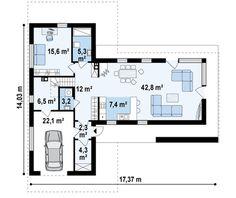 Оригинальный дом Т-образной формы с современным внешним видом | Компания Dom4m.BY | ДОМ4М в Беларуси