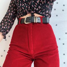The cherry cords 🍒 beautiful deep ruby corduroy vintage trousers. Tailored shape, flattering super high waisted and tapered leg fit. Such a beautiful colour,. Shoulder Shirts, Corduroy Pants, Off The Shoulder, Vintage Outfits, Dress Up, Trousers, Legs, Cords, Beautiful