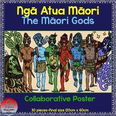 The Māori Gods-Ngā Atua Māori Collaborative Poster Bird Poster, Maori Art, Classroom Environment, Creatures, Teaching, Activities, God, Visual Arts, Sustainability