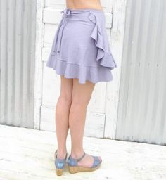 Short Hemp Ruffed Wrap Skirt! Made to Order in many colors :)