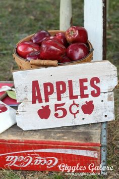 DIY Vintage Apple Picking Sign and Bucket of Apples as props Apple Farm, Apple Orchard, Equestria Girls, Seasonal Decor, Fall Decor, Apple Kitchen Decor, Apple Decorations, Apple Season, Apple Theme