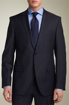 For that special occasion or maybe the BIG interview. The BOSS Black 'Jam/Sharp' Trim Fit Grey Virgin Wool Suit in Men's Clothing.