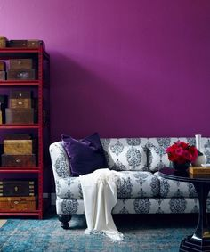 Paint Pick: Crushed Berries Use bold colours for a room infused with attitude. Gwen doesn't shy away from colour: her second pick is Benjamin Moore's Crushed Berries A splashy wall colour is a bold statement that is sure to make the room memorable. Purple Rooms, Purple Walls, Magenta Bedrooms, Purple Couch, Purple Pillows, Bedroom Colors, Fall Paint Colors, Wall Colors, Canapé Design