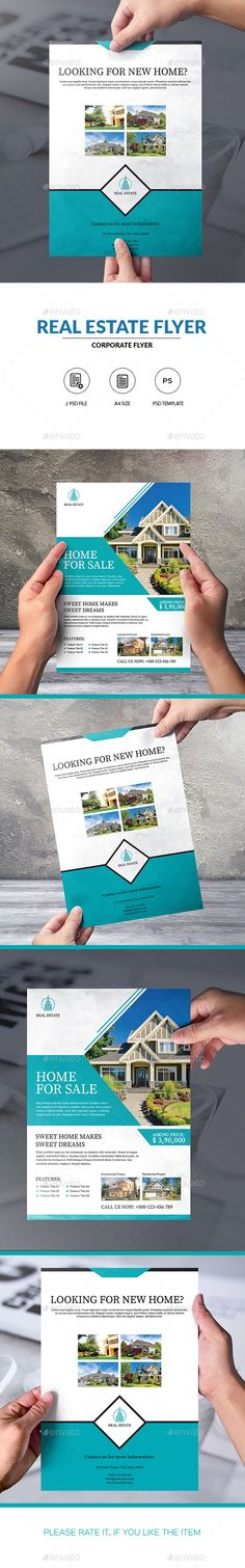 #Real #Estate #Flyer Template - Corporate Flyers Download here: https://graphicriver.net/item/real-estate-flyer-template/20447228?ref=alena994
