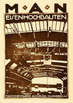 """M.A.N. Maschinenfabrik Augsburg Nürnbergag"", Advertising Flyer by Ludwig Hohlwein (b.1874 - d.1949, Germany)."