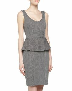 Sleeveless Pinstriped Peplum Jersey Dress, Blue/Ivory by Nanette Lepore at Neiman Marcus Last Call.