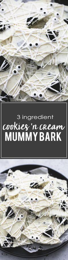 3 Ingredient Cookies 'n Cream Mummy Bark | lecremedelacrumb.com