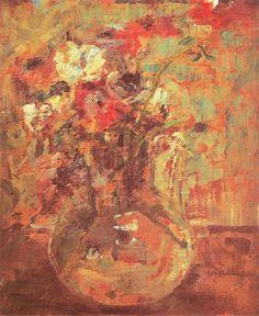 Olga Boznańska, Maki (Kwiaty) Po 1920. Olej na tekturze. 45,5 x 38 cm. Muzeum Narodowe w Warszawie.