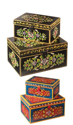 Set of 2 handpainted wood indian boxes