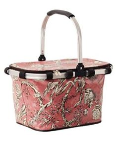 Pink Toile Collapsible Picnic Basket
