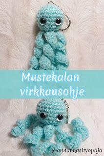 Tällä kertaa on luvassa pieni mustekala. Crochet Potholder Patterns, Granny Square Crochet Pattern, Crochet Doll Pattern, Knitted Bunnies, Crochet Bunny, Diy Crafts Crochet, Sewing Crafts, Crochet Dinosaur, Art And Craft Videos