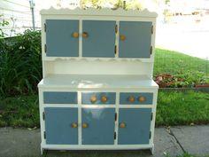 $184.85 #vintage Childs Painted Wooden Cupboard Cabinet Stepback kitchen hutch #furniture