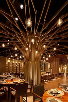 Epic & Successful Restaurant Interior Design Examples Around the World Decoration Ideas 21 Epic & Successful Restaurant Interior Design Examples Around the World Deco Restaurant, Luxury Restaurant, Restaurant Lighting, Bar Lighting, Tree Lighting, Lighting Design, Tree Restaurant, Luxury Lighting, Restaurant Ideas