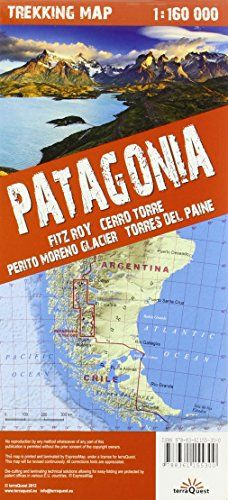 Patagonia: Fitz Roy, Cerro Torre, Perito Moreno Glacer, Torres del Paine. Mapa excursionista plastificado. Escala 1:160.000. terraQuest. (Trekking map)  #ParquedeVigeland