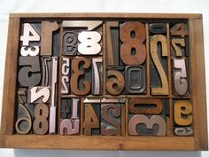 All Numbers Graphic Design Old Letterpress Type Wood & Copper w Pointing Finger