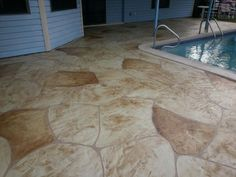 Decorative concrete Patio resurfacing in Cape Coral and Fort Myers Florida.