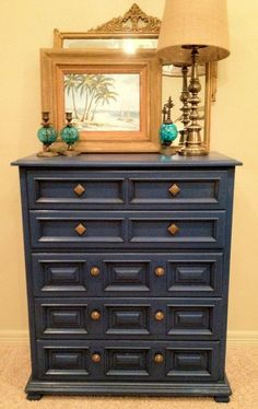 "Vintage Stormy Blue Chest of Drawers  Quality Construction by Drexel  Original Hardware  40"" L x 48"" H x 19"" W"