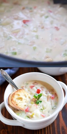 This DELICIOUS Clam Chowder recipe has potatoes and veggies and is thick and creamy like a Boston or New England clam chowder. Clam Chowder Soup, Clam Chowder Recipes, Seafood Recipes, Fish Chowder, Easy Soup Recipes, Cooking Recipes, White Soup, Soup And Salad, Soups And Stews