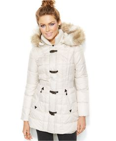 Laundry by Design Faux-Fur-Trim Hooded Toggle Puffer Coat - Coats - Women - Macy's $87.99