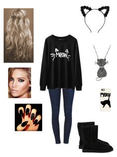 """""""Meow"""" by princesshlb ❤ liked on Polyvore featuring Frame Denim, UGG Australia, Casetify, Jewel Exclusive and Charlotte Tilbury"""