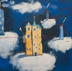 Per Nylén - Oljemålningar Stockholm -  Eget hus på moln