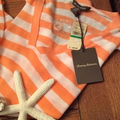 Bright peach by the stripe  long Top Beautiful light weight comfy summer top new with tags by Tommy Bahama you will love it This is a tissue thin sweater for summer  Tommy Bahama Tops