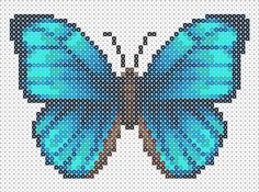 Butterfly Hama Beads pattern/ use as cross stitch pattern Pearler Bead Patterns, Bead Loom Patterns, Perler Patterns, Beading Patterns, Cross Stitch Patterns, Butterfly Cross Stitch, Beaded Cross Stitch, Perler Bead Art, Perler Beads