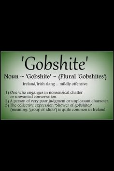 "Gobshite....""yer man's a real gobshite"" so he is"".  #RePin by AT Social Media Marketing - Pinterest Marketing Specialists ATSocialMedia.co.uk"